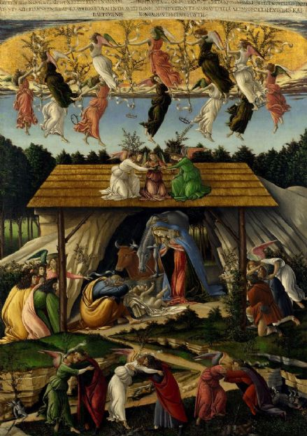 Botticelli, Sandro: The Mystical Nativity. Fine Art Print/Poster. Sizes: A4/A3/A2/A1 (001879)